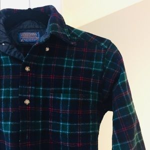 Pendleton 100% wool green button up